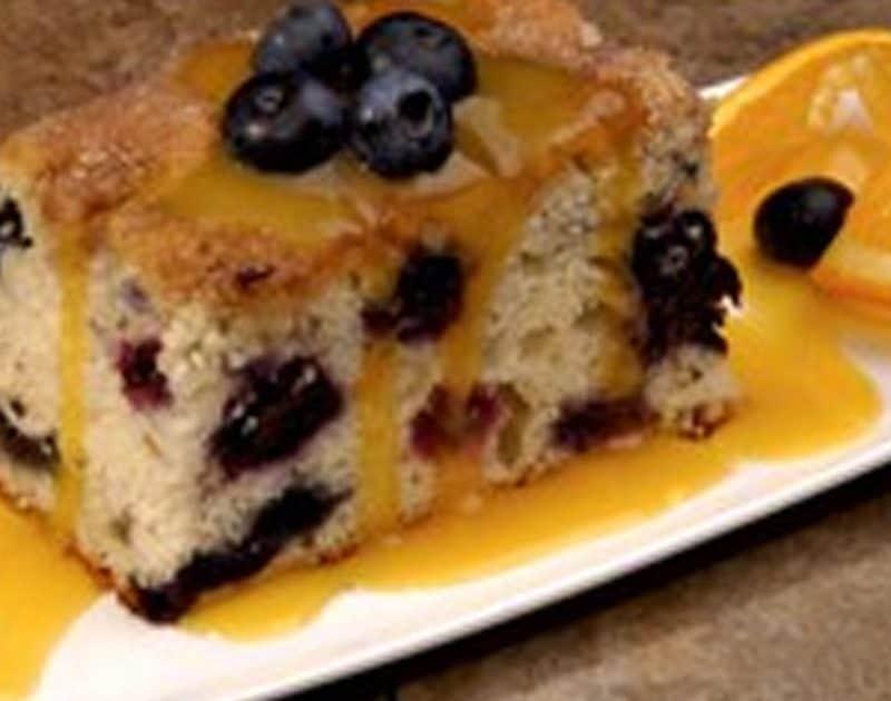Blueberry Cake with Orange Sauce