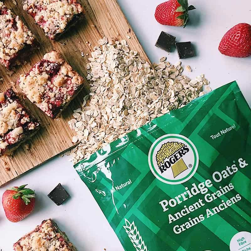 Chocolate Strawberry Oatmeal Butter Bars