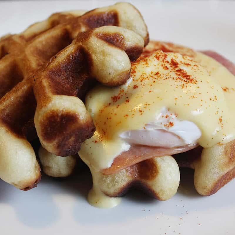 Low-Fat Eggs Benedict Waffles