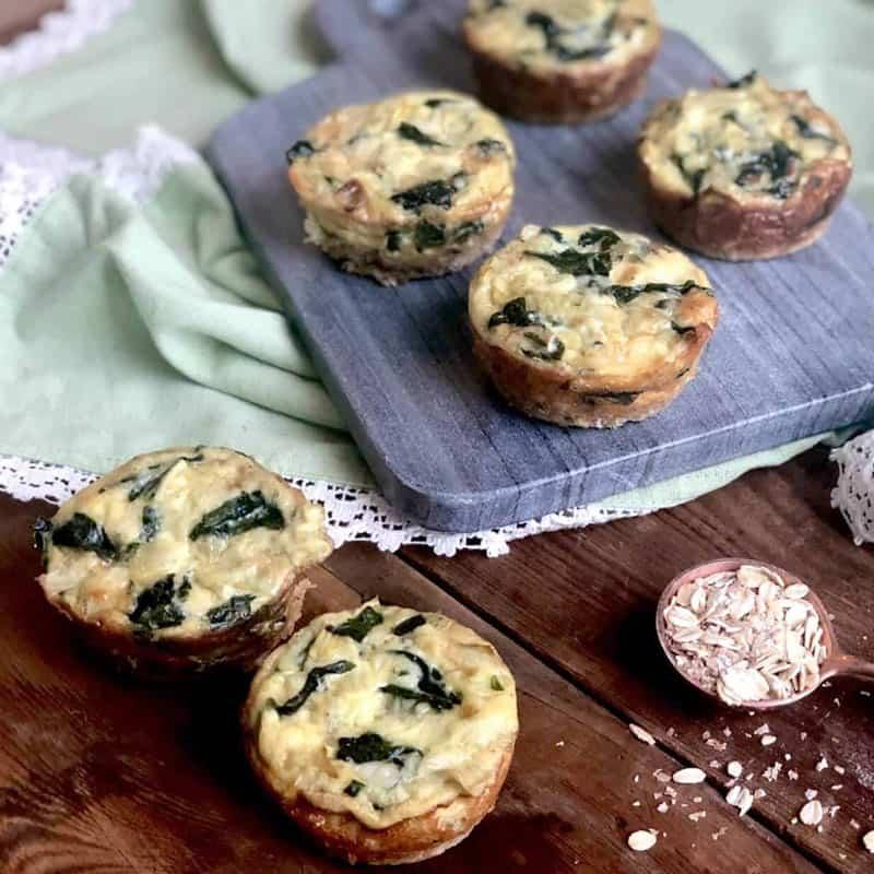 Spinach and Artichoke Mini Quiche with Healthy Grains Crust